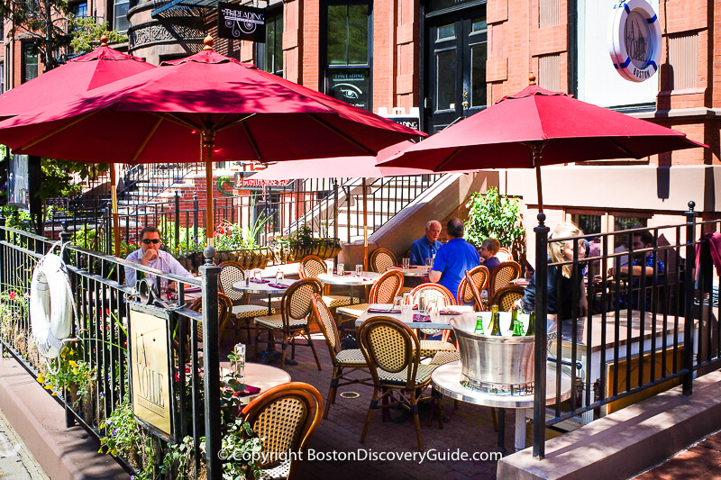 Patio dining on Newbury Street