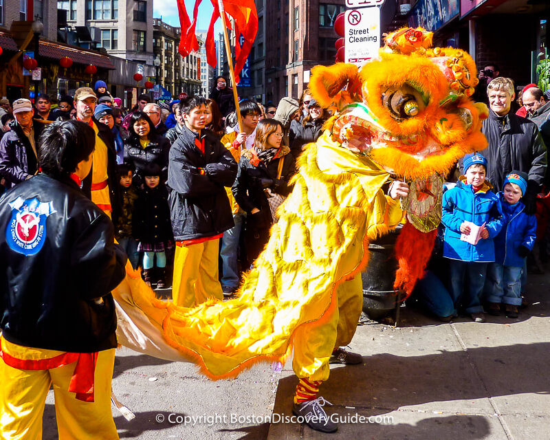 Lion dancers in Boston's Chinatown