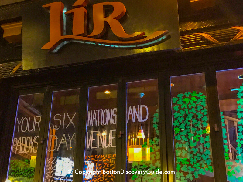 Lir's front window at night on Boylston Street