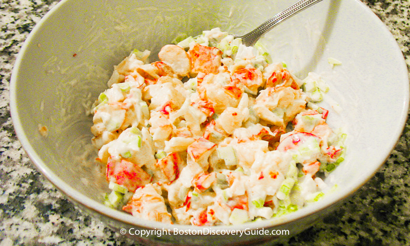 Lobster mixed with celery and mayonnaise