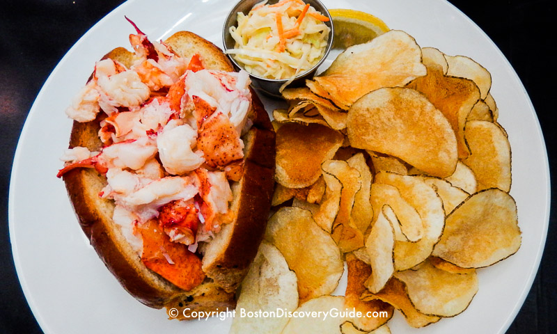 Lobster roll at Row 34, top Boston seafood restaurant in Fort Point