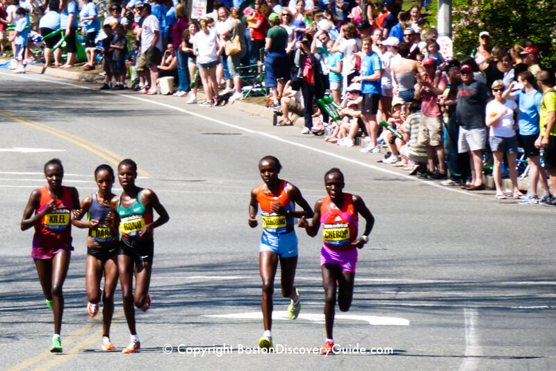 Runners in the Women's Elite Division in the almost 90 degree heat during the  Boston Marathon