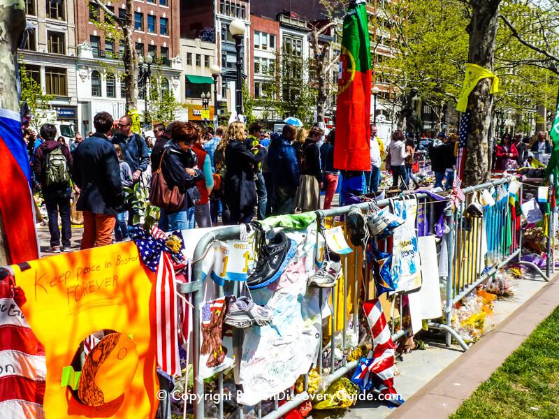 Boston MarathonMemorials, transplanted to a corner of Copley Square