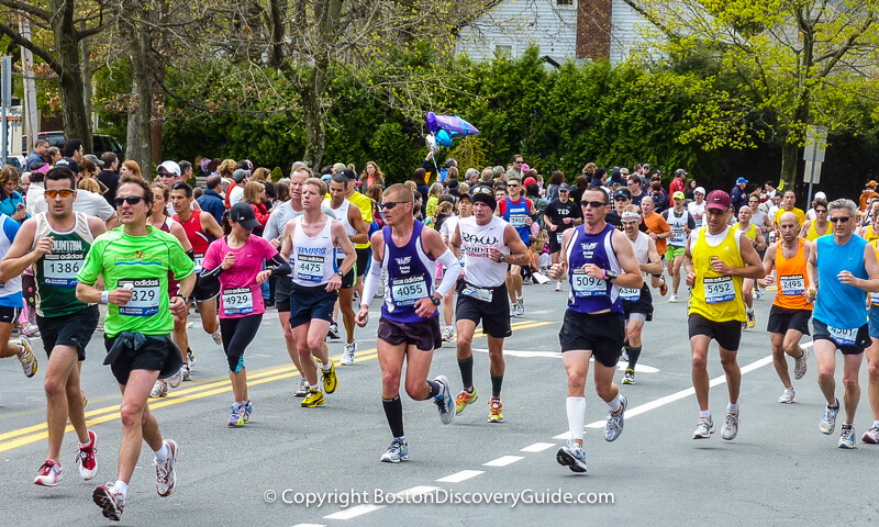 Boston Marathon runners as they approach Heartbreak Hill