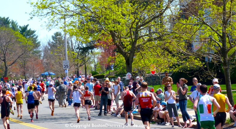 Boston Marathon runners near Heartbreak Hill