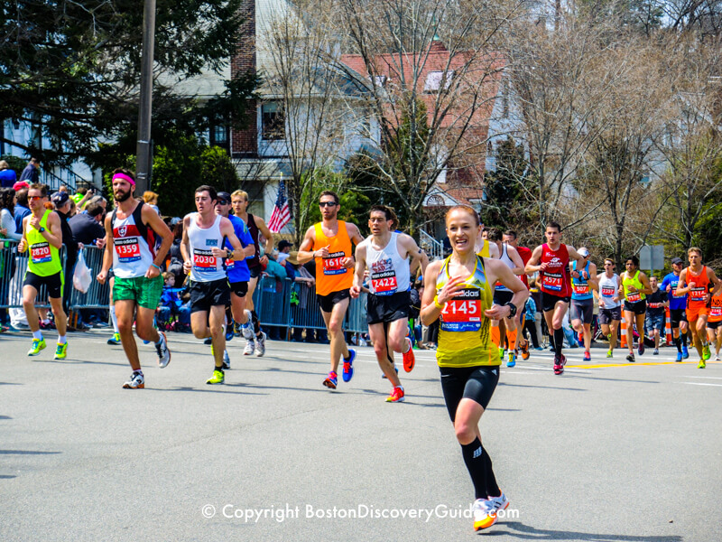Boston Marathon runners not far from Heartbreak Hill