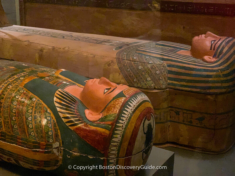 Mummies in the Egyptian collection at the Museum of Fine Arts in Boston