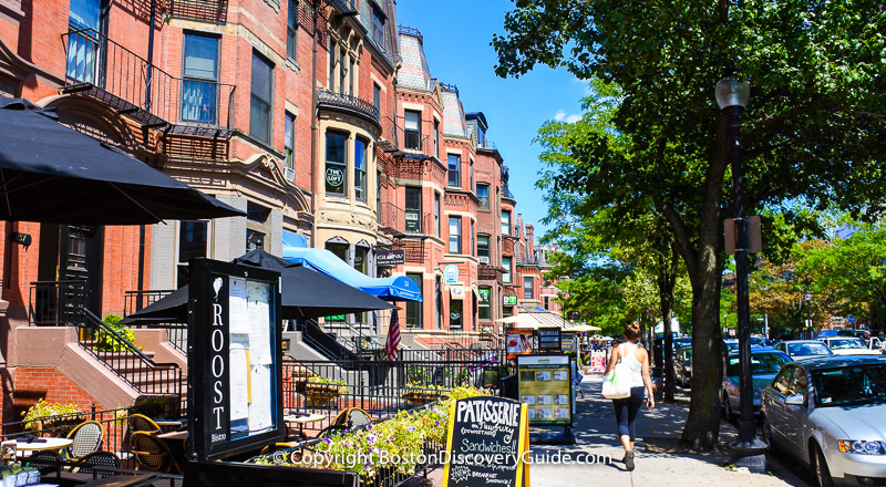 Victorian-era brownstones, designer boutiques, and restaurants make Newbury Street a top Boston attraction