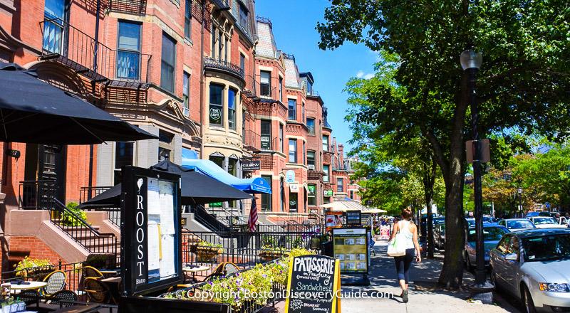 Victorian-erabrownstones, designer boutiques, and restaurants make Newbury Street a top Boston attraction