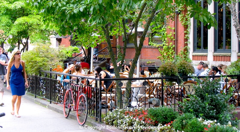 Outdoor dining in Boston's Back Bay