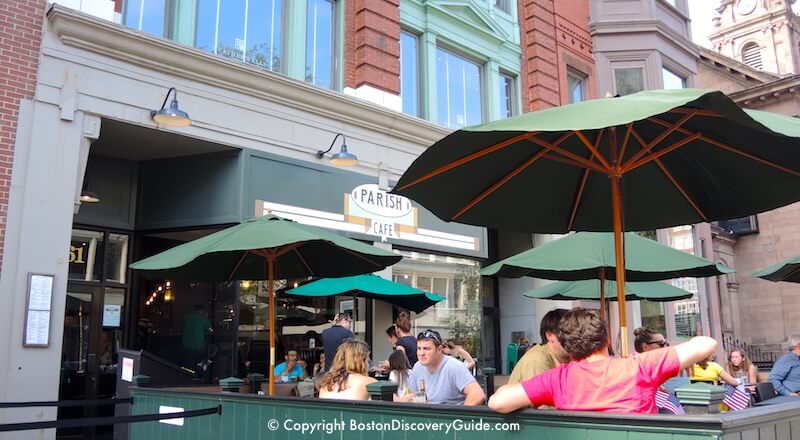 Parish Cafe's outdoor seating area on Boston's Boylston Street