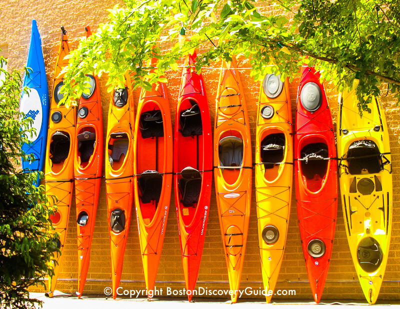 Kayaks become part of the decor at Patriot Place