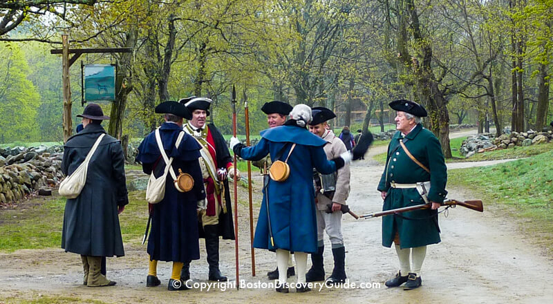 Patriots' Day reenactor portray Colonial militia at Minute Man National Historic Park in Lexington, Massachusetts