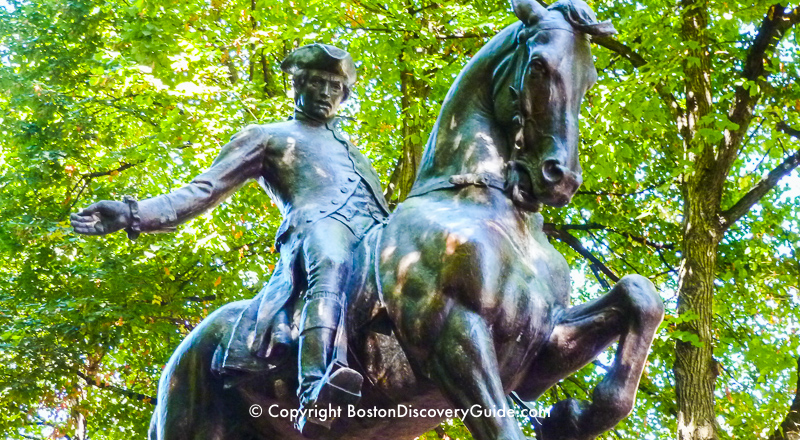 Statue of Paul Revere on horseback in his old neighborhood, Boston's North End
