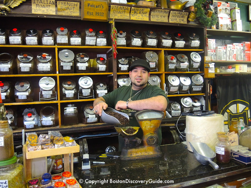 The old-fashioned counter and scale at Polcari's Coffee