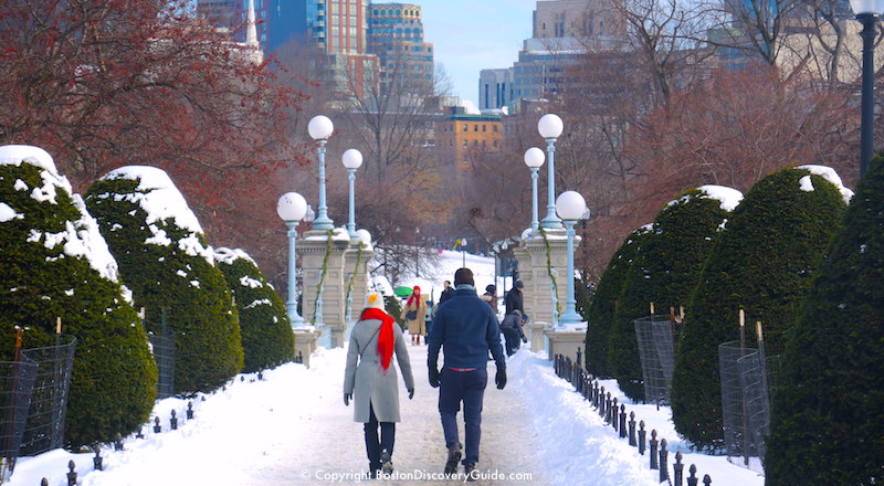 January scene: Walking across the snow-covered footbridge in Boston's Public Garden