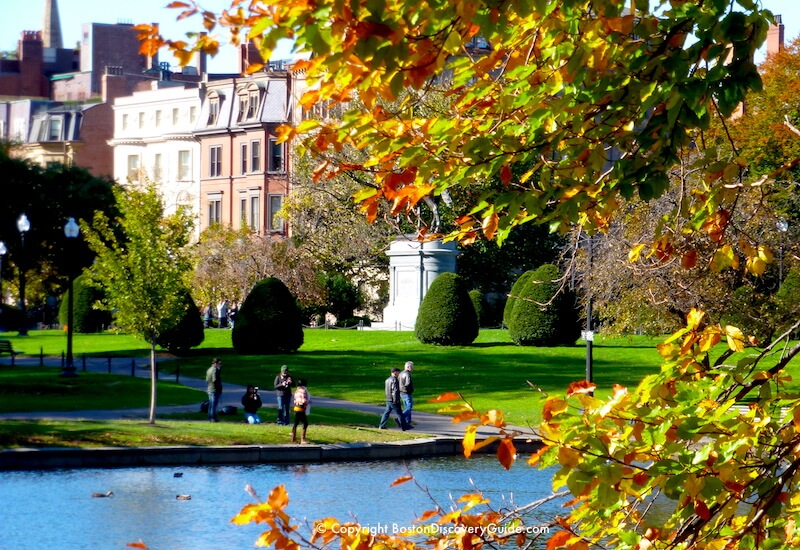 Early October fall color in Boston's Public Garden