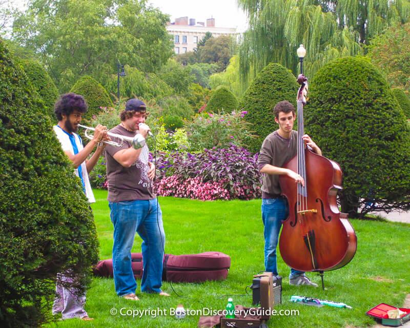 Musicians playing jazz in Boston's Public Garden