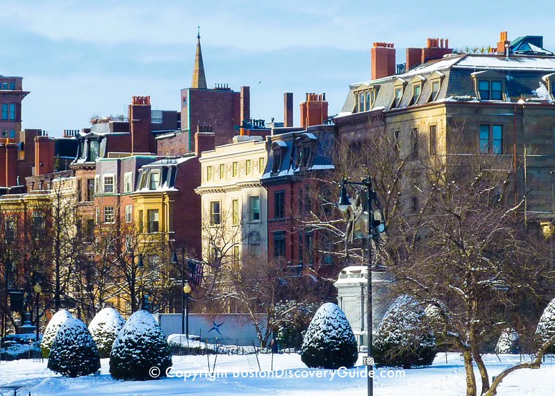 Boston Public Garden and Back Bay Mansions in the Snow