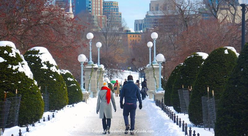 Winter walking tour of Boston: Public Garden in the snow