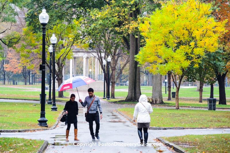 Boston Common on a rainy day in November