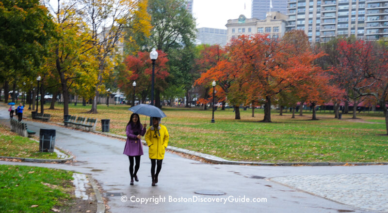 Walking across Boston Common in the rain