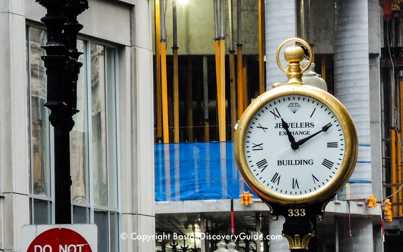Clock in front of Boston Jewelers Exchange Building at 333 Washington Street