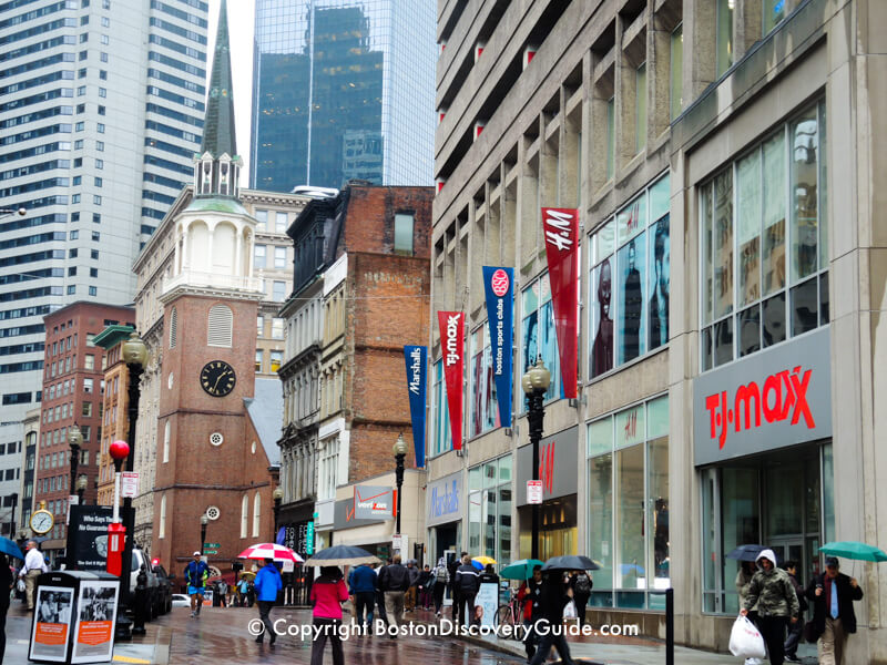 Looking back on Washington Street toward Old South Meeting House