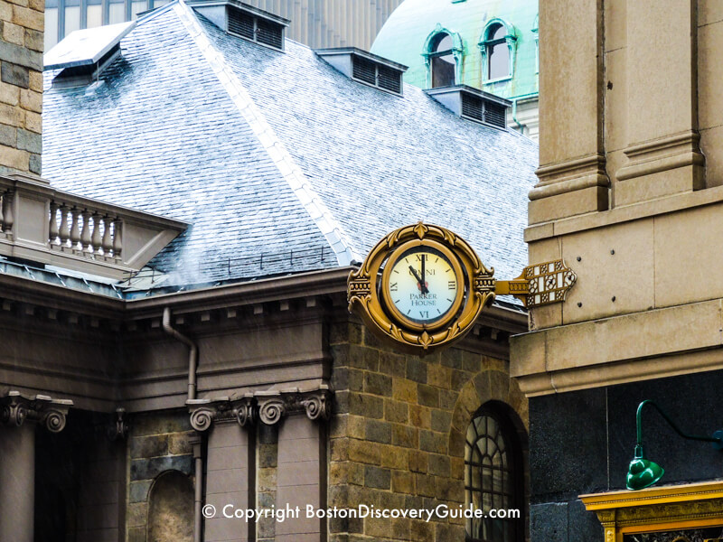 Ornate clock at the corner of the Omni Parker House Hotel