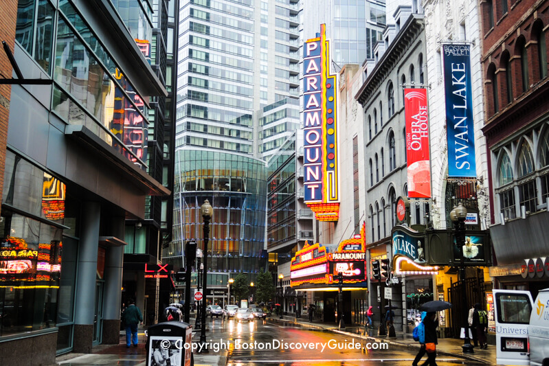 Boston's Theatre District in the rain