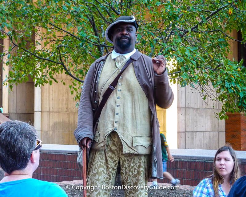 Historic reenactor portraying Boston Massacre victim and revolutionary patriot Crispus Attucks, the first person to die in the American Revolution against the British