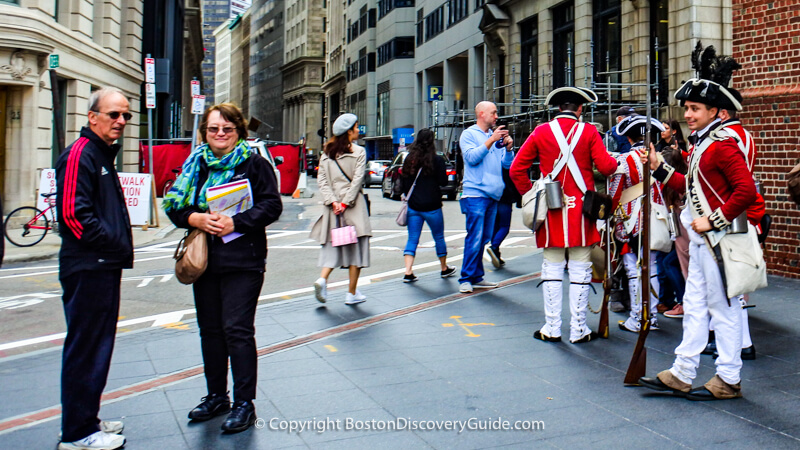 Freedom Trail and reenactors near Boston's Old State House