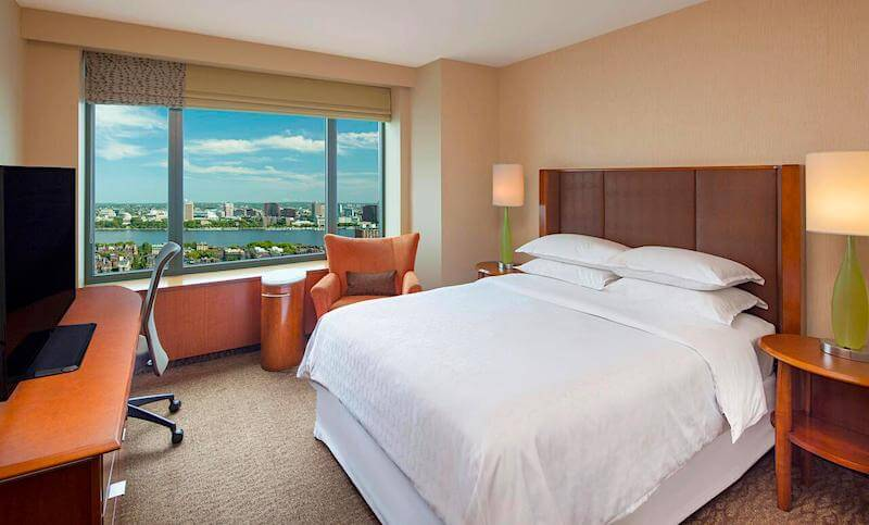 Guestroom with Charles River View at the Sheraton Boston Hotel