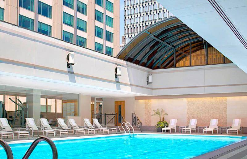 Swimming pool with retractable roof at the Sheraton Boston
