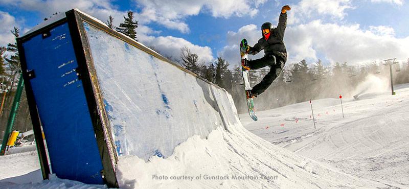 New England ski areas include Gunstock Ski Area in NH