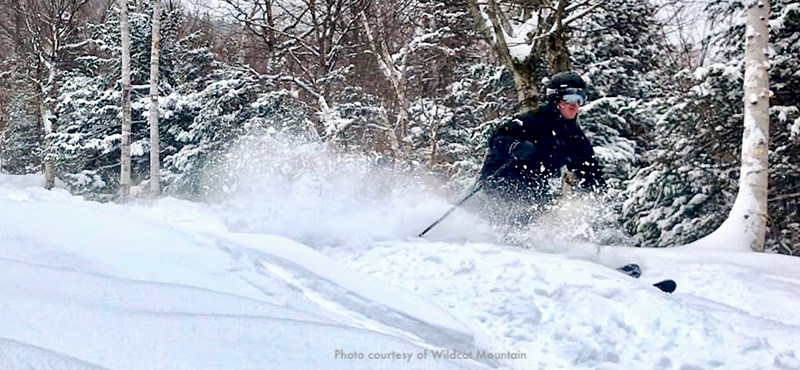 Photo of skier at Wildcat Mountain, New England ski area in New Hampshire