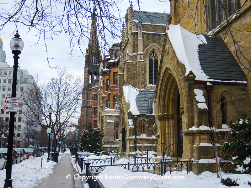 Winter walking tour of Boston: Churches and brownstones along Berkeley Street