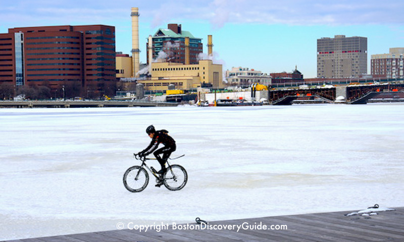 Winter walking tour of Boston: Cycling on the frozen Charles River (don't try this yourself)