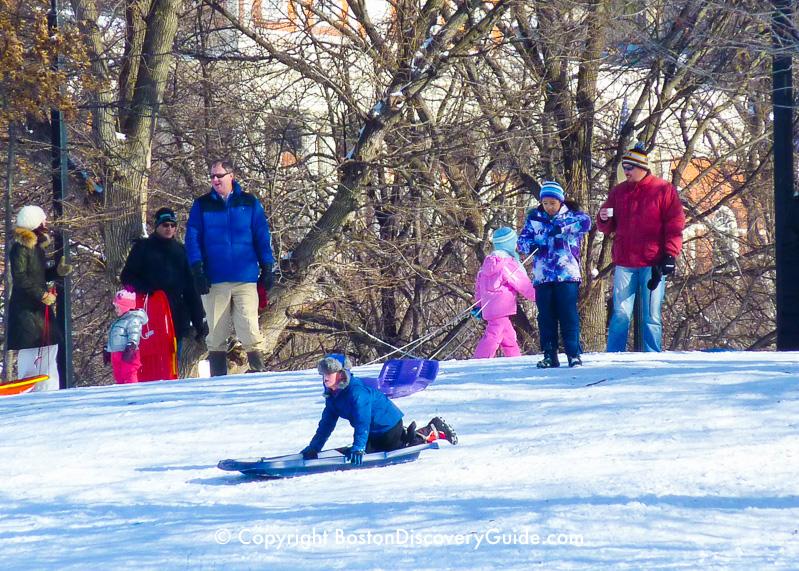 Winter walking tour of Boston: Sledding on Boston Common