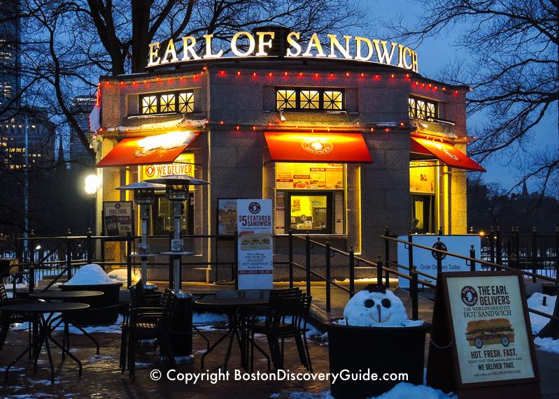 Winter walking tour of Boston: Earl of Sandwich on Boston Common