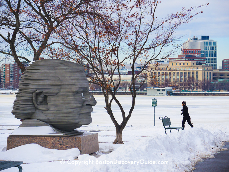 This gigantic statue of Pops Conductor Arthur Fiedler dominates the Esplanade's winter view