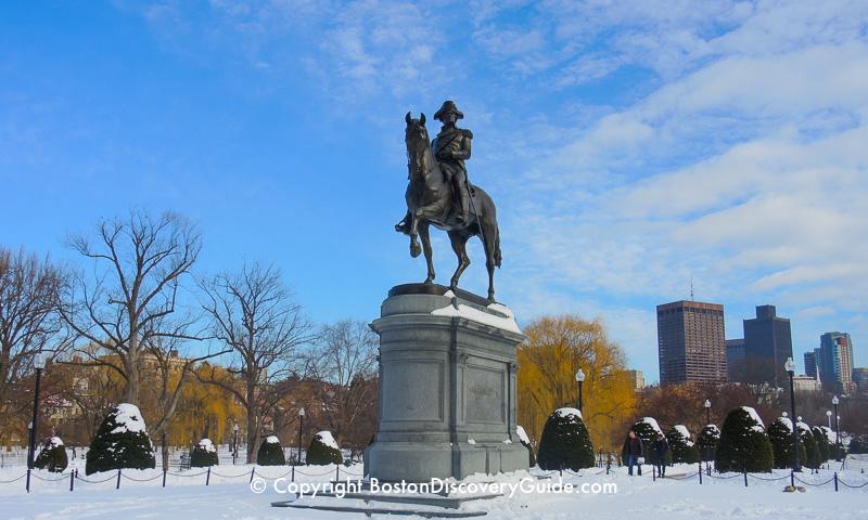 Winter walking tour of Boston: George Washington statue in the Public Garden