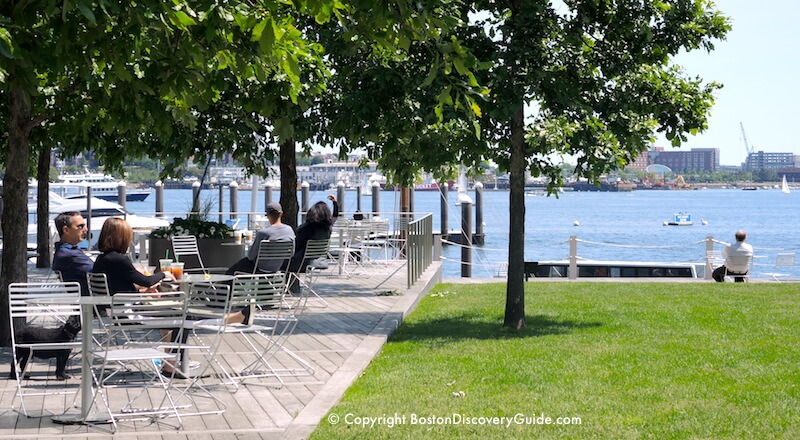 Harborwalk along Seaport area of South Boston Waterfront