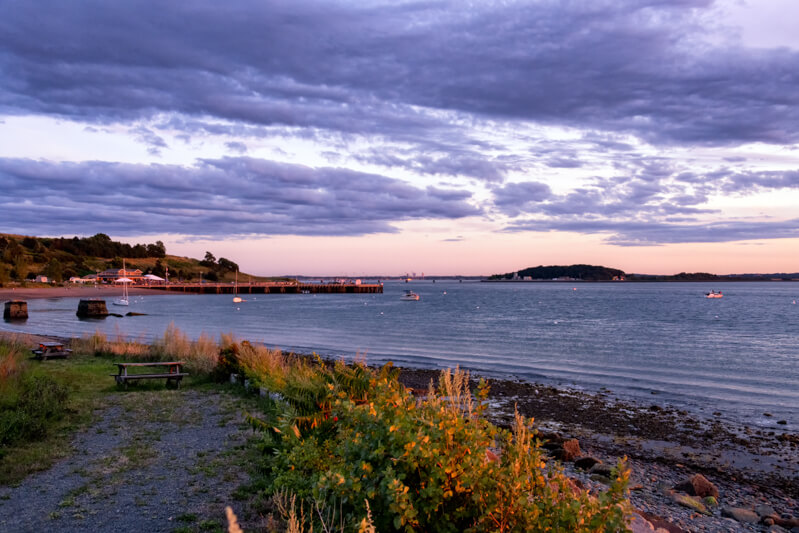 Sunset at Spectacle Island Beach