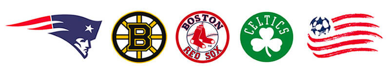 Boston Sports Teams logos - New England Patriots, Boston Bruins, Boston Red Sox, Boston Celtics, New England Revolution
