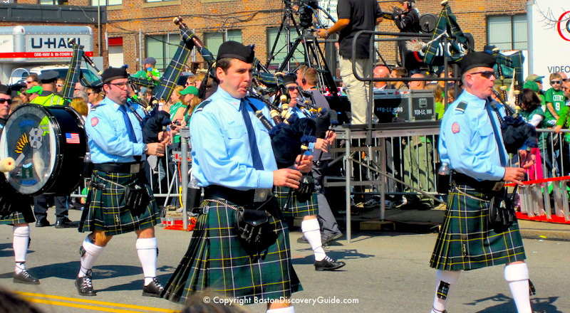 Bagpipe band marching in Boston's Saint Patrick's Day Parade