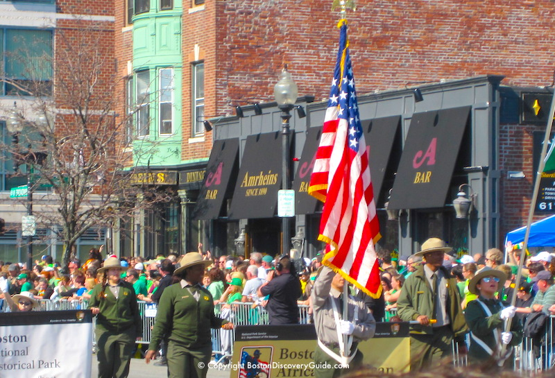 National Park Service Rangers marching in the parade