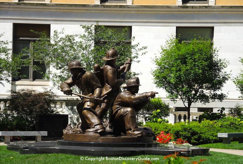 Massachusetts Fallen Firefighter Memorial on east side of the State House