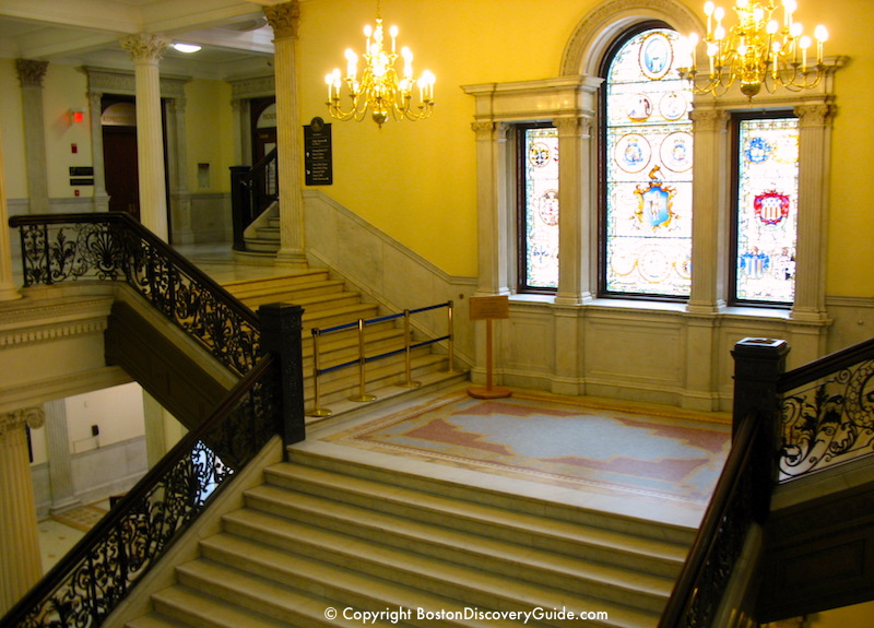 Palladian window and grand staircase in Massachusetts State House
