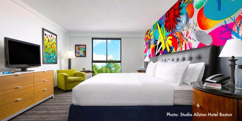Original art by local artists add splashes of color at Studio Allston Hotel